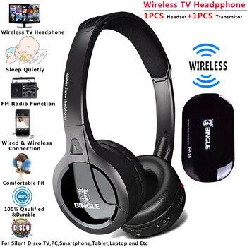 Bingle B616 2019 Universal discoteca silenciosa de estudio Audio en el oído inalámbrico auriculares écouteur de RF inalámbrico de auriculares para PC TV Smartphone
