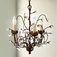 European vintage iron flower chandelier lamp home deco living room retro crystal tree E14 LED bulb chandeliers light fixture