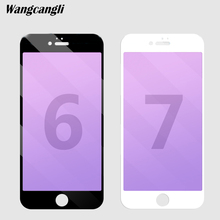 Anti blue Light tempered glass for iphone 6 glass Full screen Soft edge protective glass for iPhone 6s plus purple light film