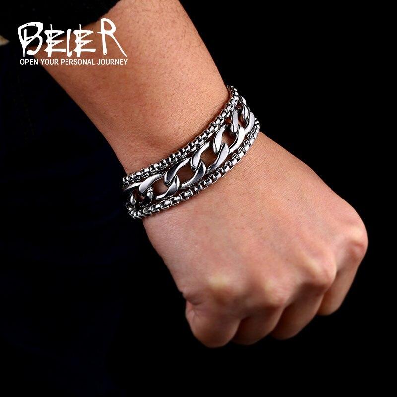 Beier 316L pulsera de acero inoxidable simple y pulsera con cadena de perlas para la joyería de los hombres del estilo de moda Vintage hss007|Pulseras de amuleto|   - AliExpress