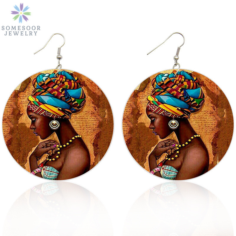 SOMESOOR Vinatge African Headwrap Woman Wood Drop Earrings Afrocentric Ethnic Boths Side Painting Jewelry For Blacks Gifts 1Pair