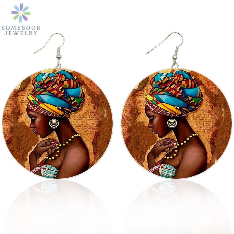 SOMESOOR в винтажном стиле тюрбан в африканском стиле женские деревянные серьги в виде капель с Afrocentric в этническом стиле Boths сторона картины юв...