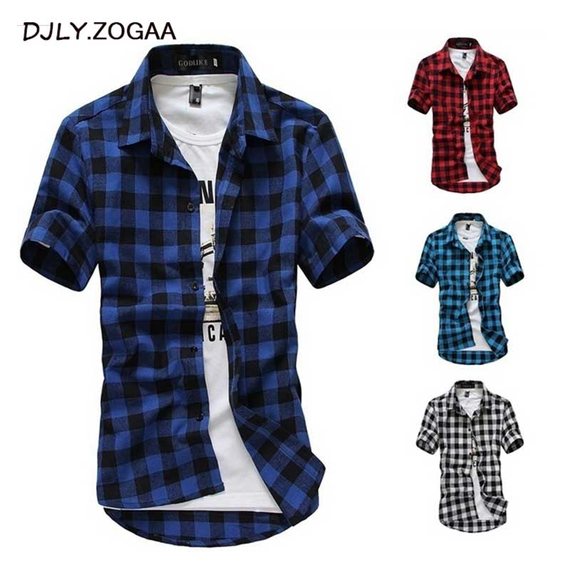 Men's Summer Shirts Short Sleeve Plaid Shirt Casual Man Fashion Chemise Homme Mens Dress Shirts  Leisure Design Cotton Shirt