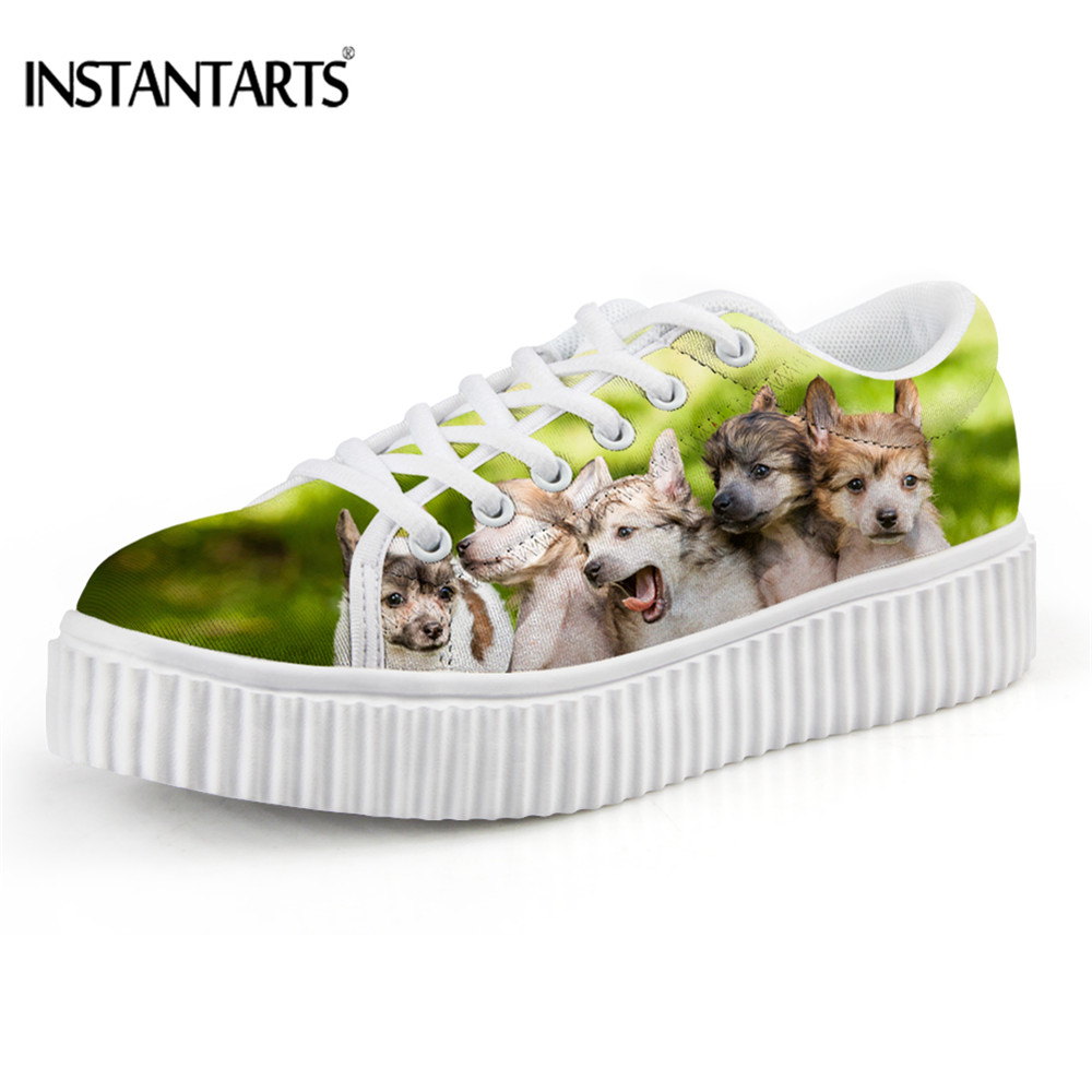 INSTANTARTS Fashion Women Shoes Flats Platform Lovely 3D Animal Cut Dog Shoes Woman Low Style Height Increasing Winter Ladies