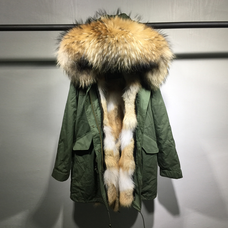 Winter Jacket Women Army Green long Parka Coats Real Large Raccoon Fur Collar   Patch  Coyot Fur Lining Hooded Outwear new 2017 jott jacket winter women parka long coat large real raccoon fur collar faux rabbit fur liner army green casual outwear
