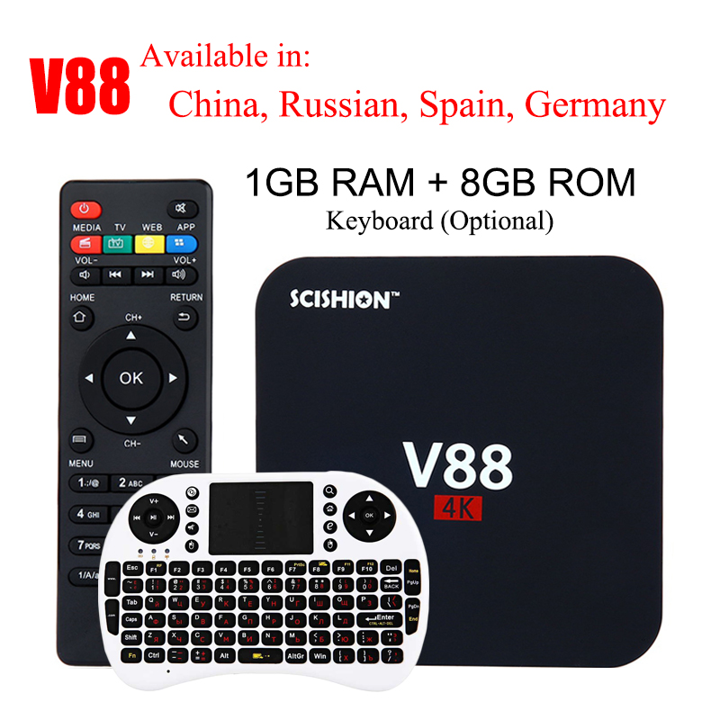 SCISHION V88 4K Android 7.1 Smart TV Box Rockchip 3229 1G/8G 4 USB 4K 2K WiFi Full Loaded Quad Core 1.5GHZ Media Player PK A95X emish x800 1g ram 8g rom smart android tv box rk3368 octa core android 5 1 1 full hd 4k 2k h 265 wifi bluetooth 4 0 hdmi