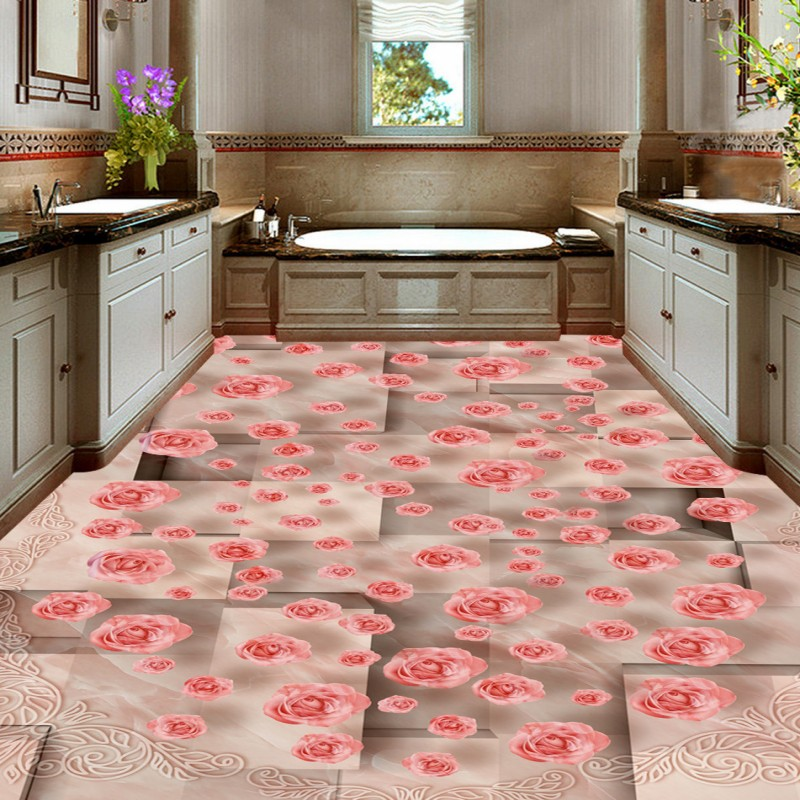 Free shipping photo floor Marble pattern mosaic 3D art flooring ...