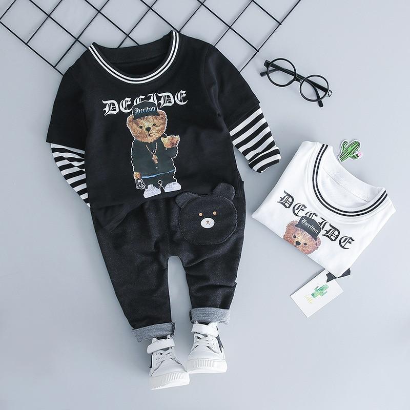 c3984394b KINE PANDA Baby Boy Clothes Casul Sport Suit t shirt+ Pants 2PCS Toddler  Kids Tracksuit Baby Clothing Set 1 2 3 Y Cartoon Bear | My Baby Gecko