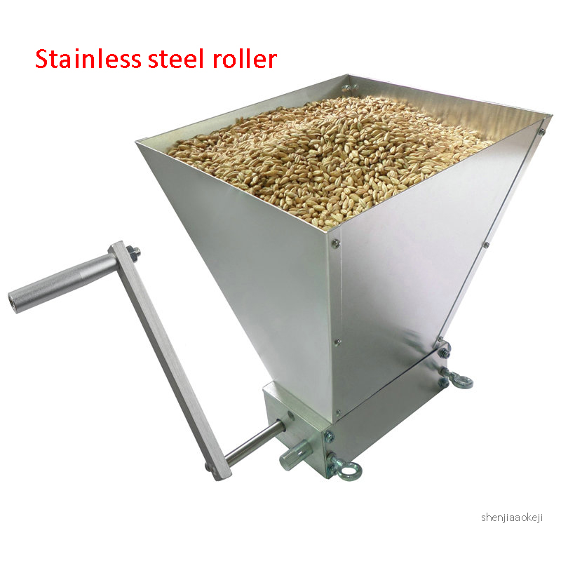 Manual Malt Mill Wheat Grain Mill Crusher Stainless Steel Grinding Machine Home Grain Grinder With 45# Carbon Steel Rollers 1PC