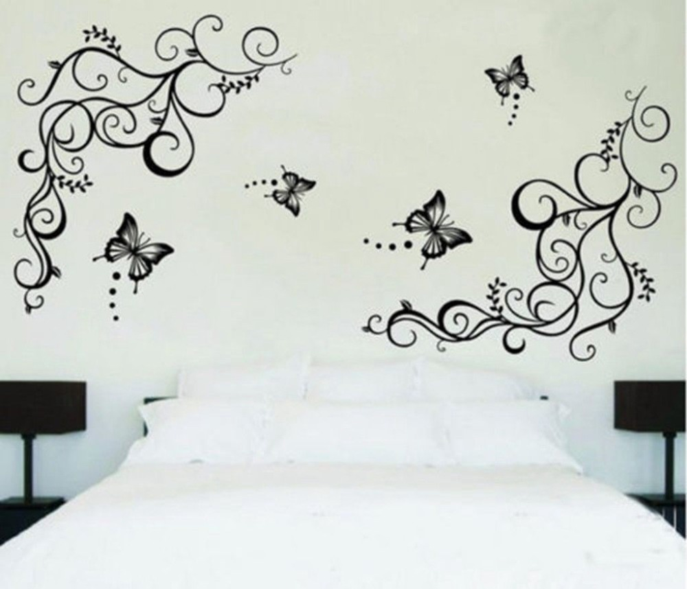 online get cheap flower wall decal aliexpress com alibaba group butterfly vine flower wall decals living room bedroom home decor decorative removable pvc wall sticker