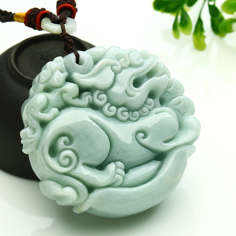 Fine Jewelry Pendants Humble 50*50*14mm Tjp Natural Jadeite Jade Ice Nuo Zhong Double Sided Pixiu Pendant Yu Pei Jade Pendant Necklace Sweater Chain To Have Both The Quality Of Tenacity And Hardness