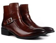 Мода коричневый загар/черный Острым Носом мужские ботинки неподдельной кожи мотоцикла сапоги мужские открытый случайные сапоги с пряжкой