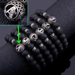 Natural lava stone 26 Letters id Bracelet for Women Men couple Jewelry Name Friendship initial id Bead Bracelet Kids Family DIY