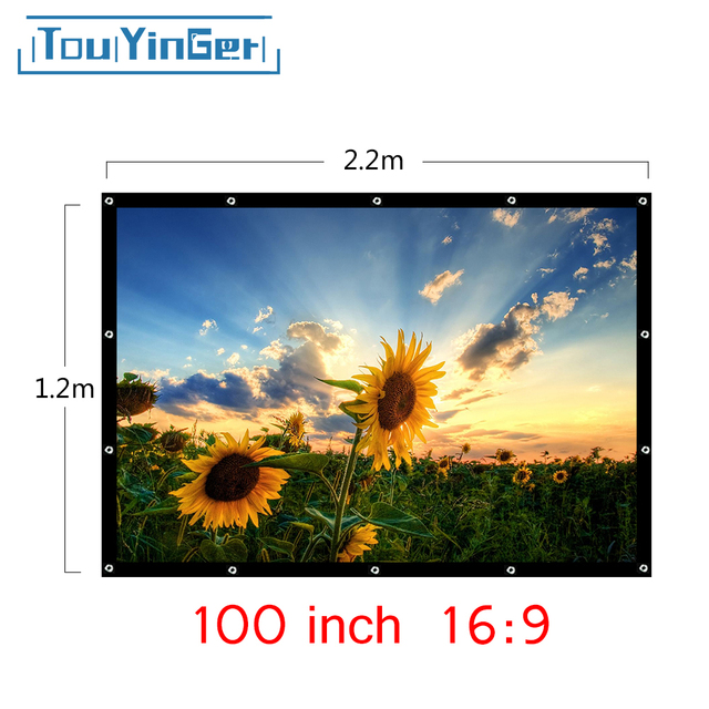 Touyinger Projector Accessories Projection Screen 100inch 16:9 Portable Folded Front Projection Screen Can Use Anywhere