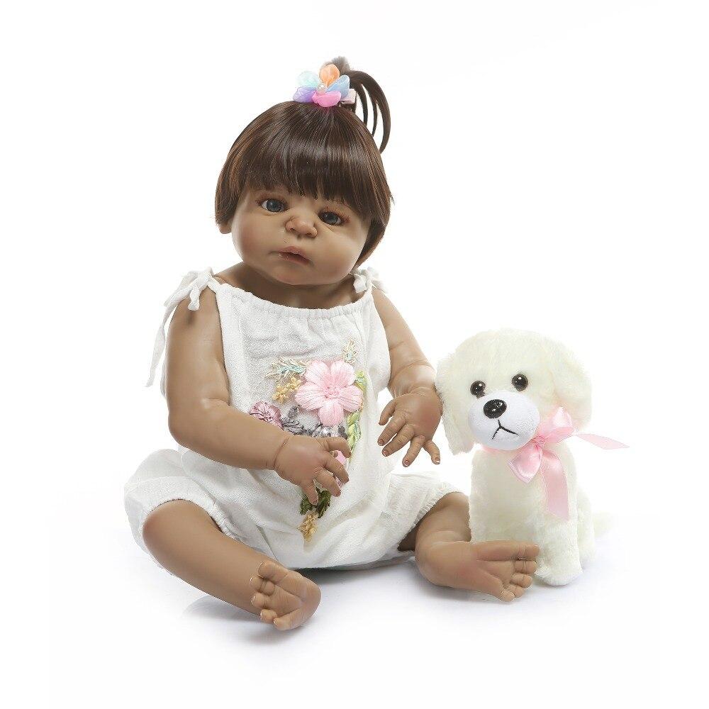 Oyuncaklar ve Hobi Ürünleri'ten Bebekler'de NPK 22 Inç 56 cm Reborn Bebekler Bebek Kız Tam Vücut Silikon Vinil Gerçekçi Prenses Bebekler Bebek Çocuk Oyun Arkadaşları hediye oyuncaklar'da  Grup 3