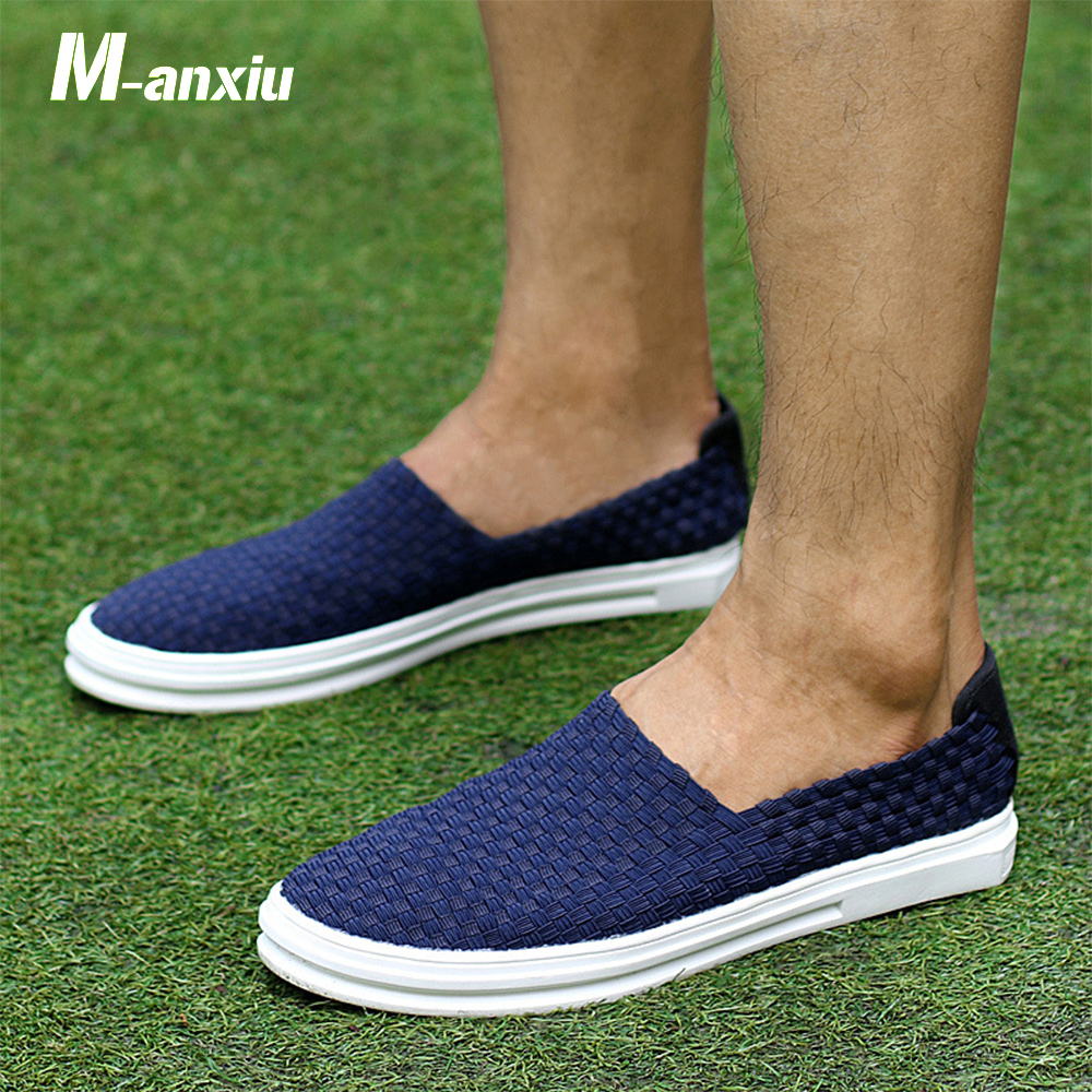 M-anxiu 2018 Summer Fashion Breathable Sport Fisherman Air Mesh Sandal Men Knitting Solid Color Casual Liesure Slipper Shoes