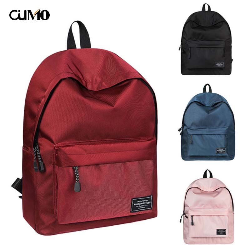 Ou Mo brand Solid 4 Color computer laptop anti theft backpack feminina backpack Women Bag man Boys Girls child Schoolbag in Backpacks from Luggage Bags