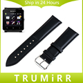 24mm Genuine Leather Watchband + Tool + Spring Bars for Sony Smartwatch 2 SW2 Watch Band Wrist Plain Strap Bracelet Black Brown