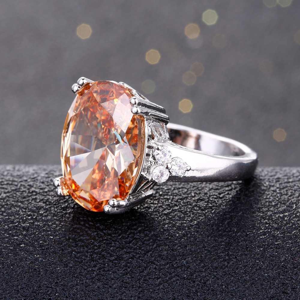 Charms 12x16 มม. แชมเปญ Shining แหวนพลอย 925 แหวนเงินหินธรรมชาติที่ดีที่สุดสำหรับสตรีผู้ชายขายส่ง