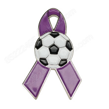 General Cancer Awareness Soccer Lavender Ribbon Lapel Pins