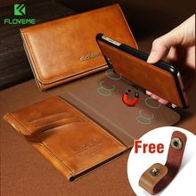 FLOVEME Leather Bags Cover Case For iPhone 7 Plus 6 6S Plus Luxury Wallet Case Magnetic Adsorption Phone Cover For iPhone 6 6S 7 detachable 2 in 1 magnetic absorbed oil buffed leather wallet case for iphone 6 plus 6s plus red