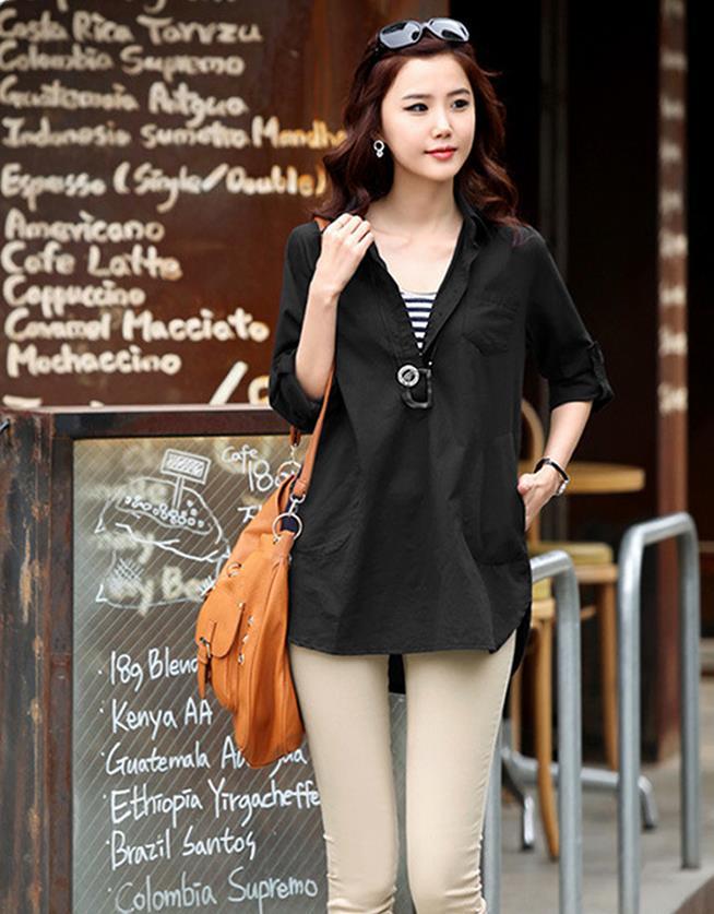3ced4b74f53d Donna Estate Più Il Formato Solido Gira-giù il Collare Completo 100% Cotone  Camicie Donna Primavera Copertura Sciolto Camicetta Lady Autunno camicia