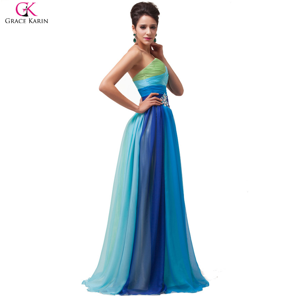 Grace Karin Rainbow Aqua Blue Coral Red Ombre Plus Size Long ...
