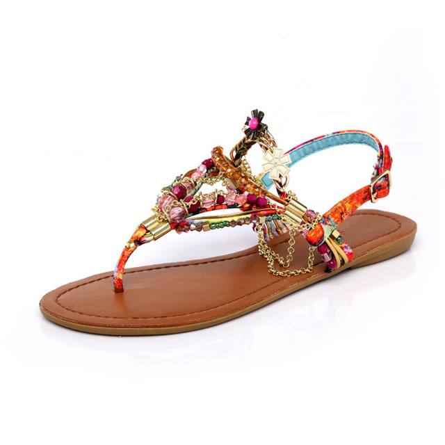 cd78d24e5127ac Bohemian Sandals Women Rhinestones Chain Flat Sandals Flower Thong Sandals  Princess Colorful Beaded Summer Shoes Beach Flip Flop