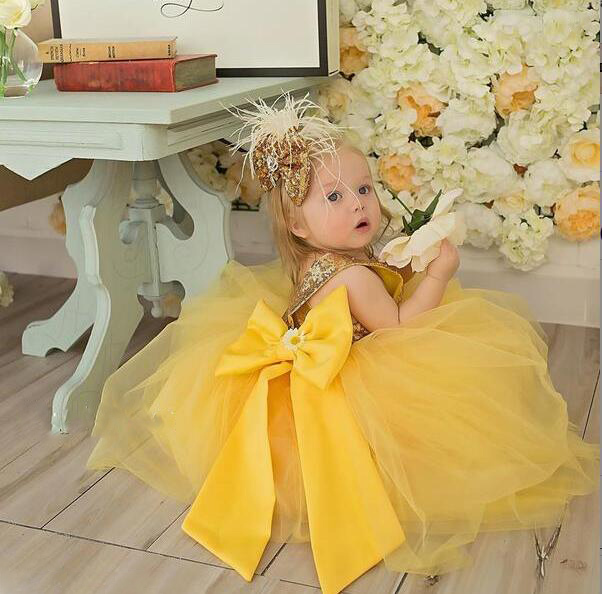 Floor length yellow tulle flower girl dress golden sequin top ball gown tutu open back baby toddler pageant birthday party dress