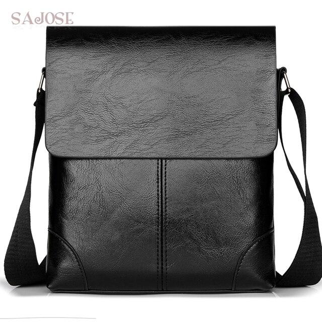 Crossbody Bag For Men Leather Shoulder Casual Business Male Messenger Bags Vintage Mens Designer Black