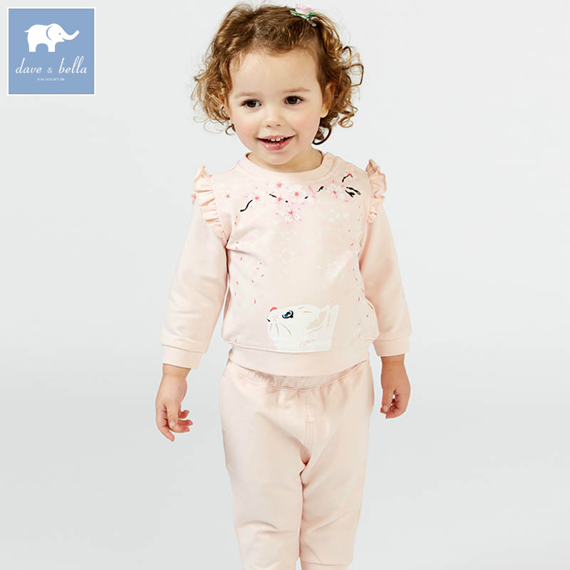 DBZ7441 dave bella spring baby girls clothing sets kids cat print suit children toddle outfits high quality clothes db4499 dave bella summer baby girls lovely clothing sets kids stylish clothing sets toddle cloth kids sets baby fancy clothes