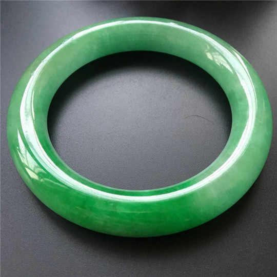 ธรรมชาติพม่าหยกกลม Yang สีเขียวรุ่นหญิงสร้อยข้อมือหยกสีเขียวมรกตสร้อยข้อมือสร้อยข้อมือหยกสีเขียว