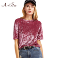 ArtSu Casual Velvet T Shirt Women Short Sleeve T-shirt Loose Pullovers Tops Loose Brand Female Velvet T-shirt Clothes ASTS50044
