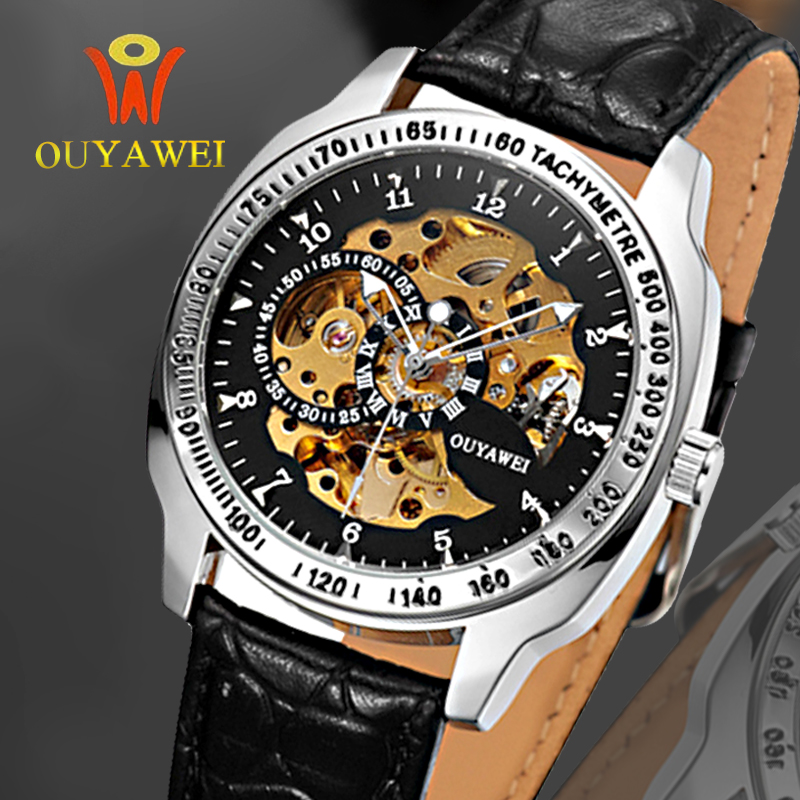2019 NEWEST mechanical watches OUYAWEI Top Brand Luxury army wrist watches for men 22mm leather Military skeleton Clock hombre