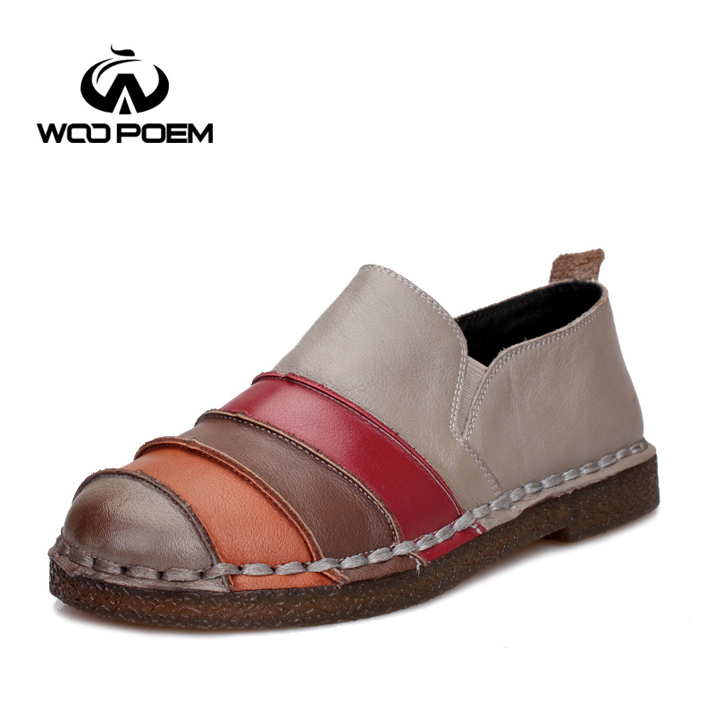 WooPoem Spring Autumn Shoes Women Breathable Cow Leather Loafers Shoes Comfortable Low Heel Flats Sewing Pleated Lady Shoes 3662 top brand high quality genuine leather casual men shoes cow suede comfortable loafers soft breathable shoes men flats warm