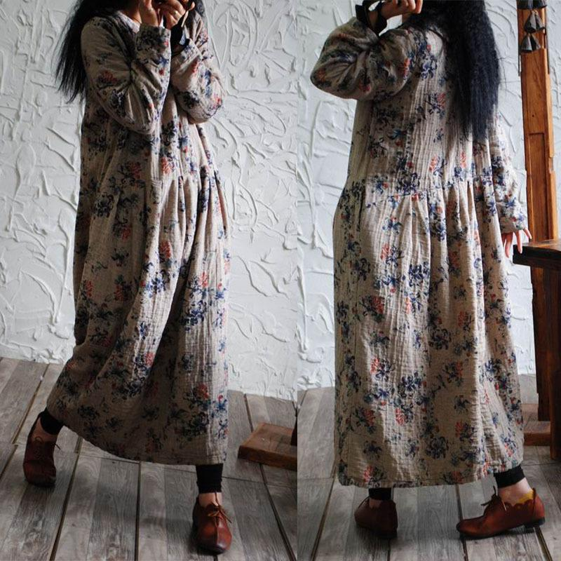 New 2018 Spring Spring Floral Pint Women Dresses Ankle length Long Sleeve Casual Dress O Neck