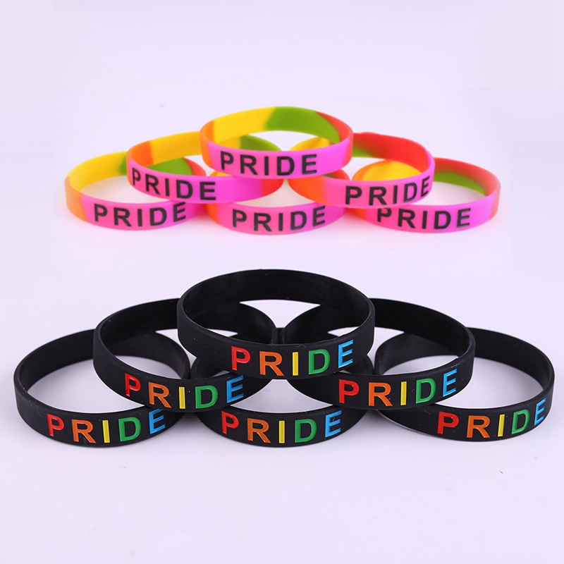 Gay Pride Rainbow Slim Awareness Silicone Bracelet Wristband ...