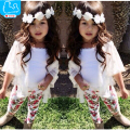 Baby Girl Clothes Open Stitch Coat+Floral Pants+Pure White Vest 3pcs Baby Girls Clothing Sets 2017 Summer Children Clothing Set