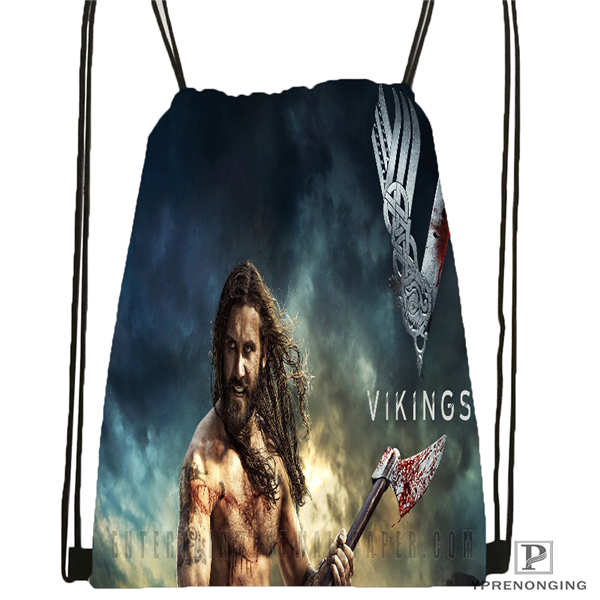 Custom VIKINGS_action_drama_   Drawstring Backpack Bag Cute Daypack Kids Satchel (Black Back) 31x40cm#20180611-02-92