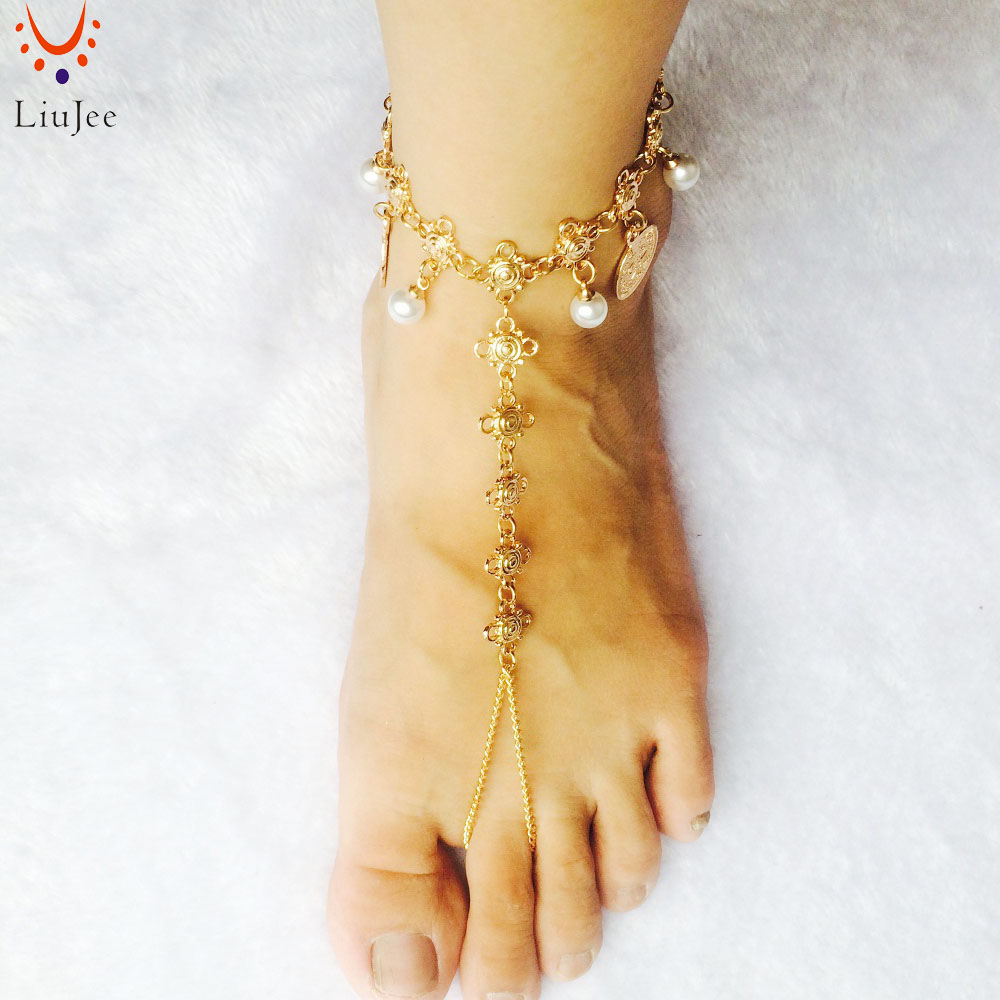 Barefoot Sandals Foot Jewelry Gold Color Wedding Jewelry Wedding Sandals Anklet Foot Thong Beach wedding Shoes Sandles AK018