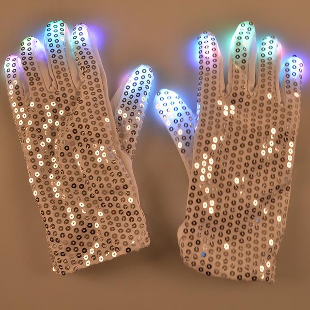 5 unids/lote Perla Lentejuelas LED Dancing Light Intermitente Mostrar Guantes Rave Dedo Iluminación Colorida para Las Mujeres con la Tarjeta de Felicitación
