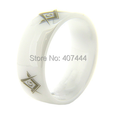 Free Shipping USA HOT SELLING HIGH QUALITY WARRANTY 8MM WHITE DOME CERAMIC Masonic Master A MEN&WOMENS BEAUTY WEDDING BAND RING