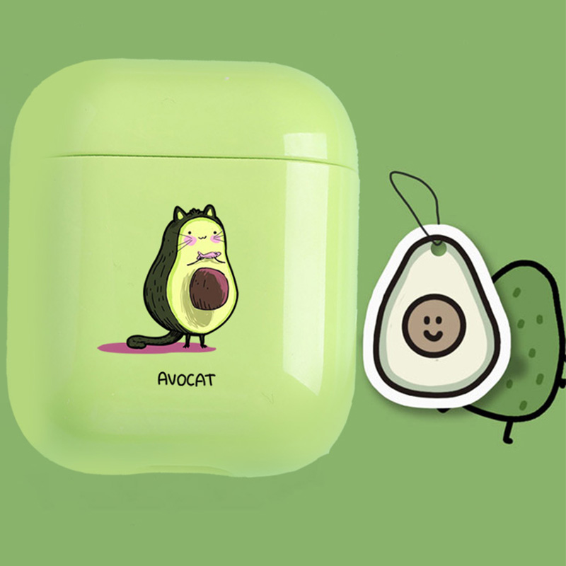 Cute Case For Apple Airpods Case Cartoon Funny Avocado Bluetooth Earphone Case For Airpods 1 2 Charging Bags Headphone Hard Case