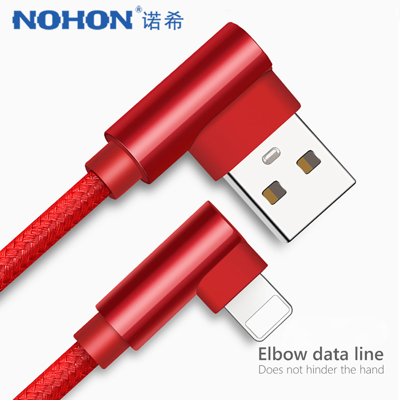 NOHON 90 Degree USB Sync Data Cable Charging Lighting For iphone X 8 7 6 6S 5S Plus 5C 5 SE XS MAX XR Phone Charger Cables 1M 2M|Mobile Phone Cables|   - AliExpress