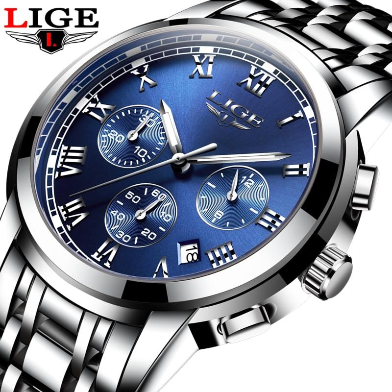 LIGE Mens Watches Brand Luxury Fashion Business Quartz Watch Men Sport Full Steel Waterproof Wristwatch Clock Relogios Masculino