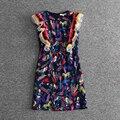 Alta calidad más nueva del verano 2017 diseñador dress volantes de las mujeres gorgeous impreso floral mini slim dress