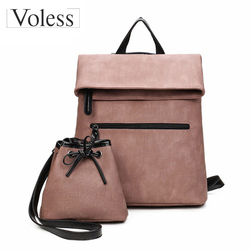 New 2 pc backpack women racksack schoolbag woman pink leather lady backpack fashion schoolbag woman bookbags.jpg 250x250