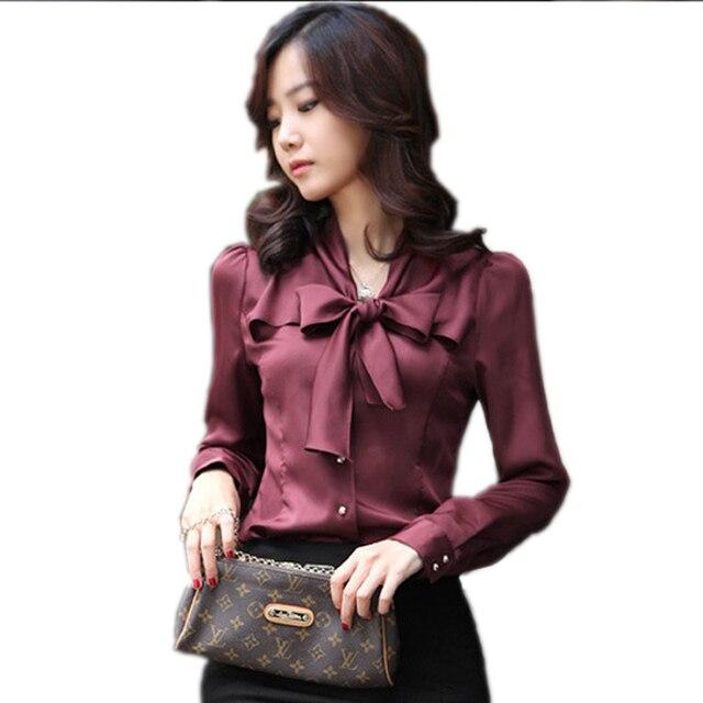 5f5a3f7e4060a Seda elegante blusas Mujer camisa mujer blusa 2018 de manga larga blusas  señoras Oficina camisas más