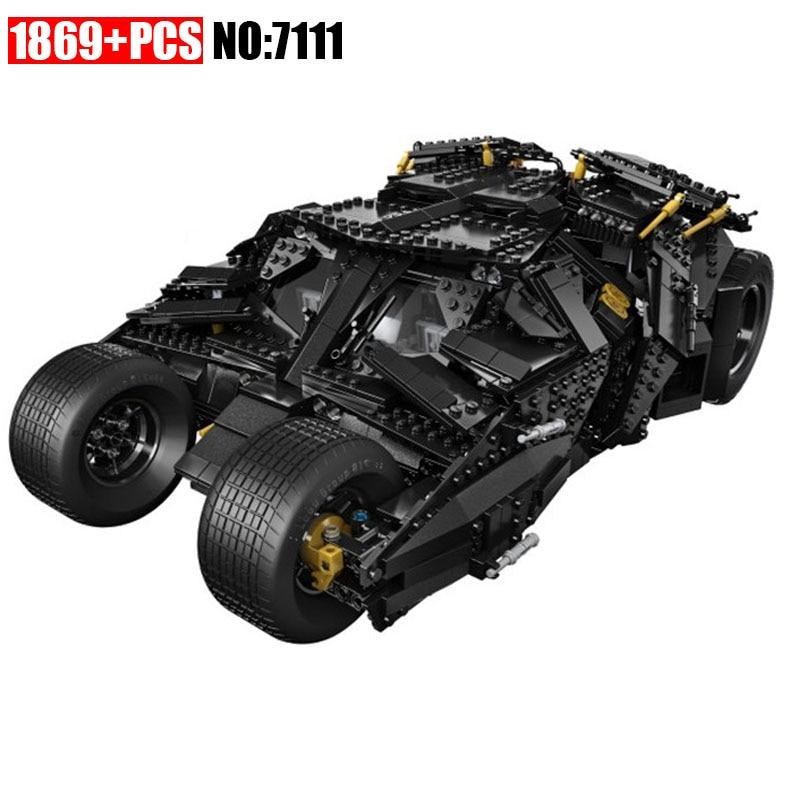 NEW 7111 1969Pcs Super Heroes Batman 76023 Chariot The Tumbler Batmobile Batwing Building Blocks Bricks Education