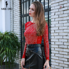 Missord 2018 Sexy  O Neck Long Sleeve Rhinestone See Through Top FT8690